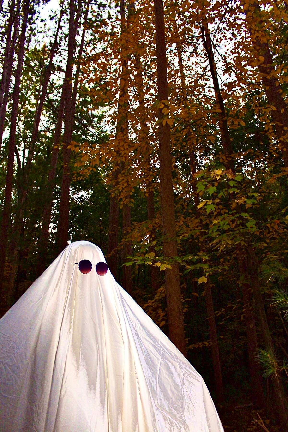 A spooky little ghost out in the woods enjoys some nice fall weather this month in a photo from Emily Bailey of Burnt Hills.