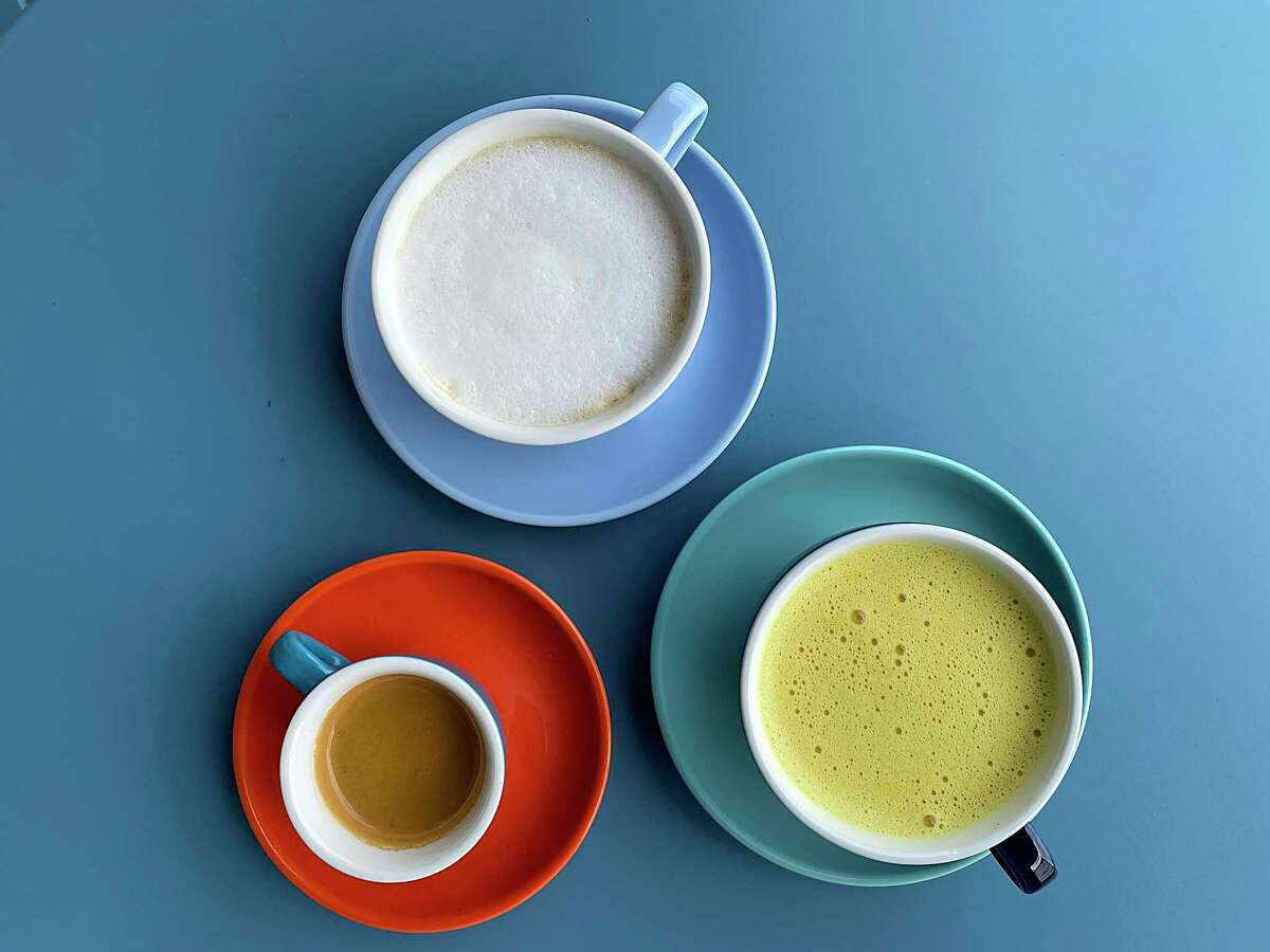 Extra Fine on East Mistletoe Avenue is among the coffee shops that have opened in San Antonio since the COVID-19 pandemic started, offering specialty drinks including espresso, bottom left, cappuccino and turmeric-spiced golden milk.