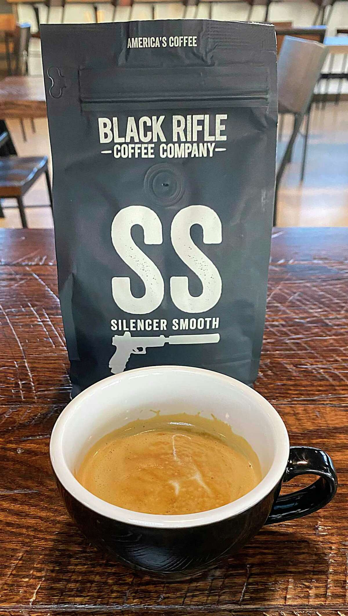 Black Rifle Coffee Co. on Bitters Road sells coffee beans and coffee drinks like this cortado.