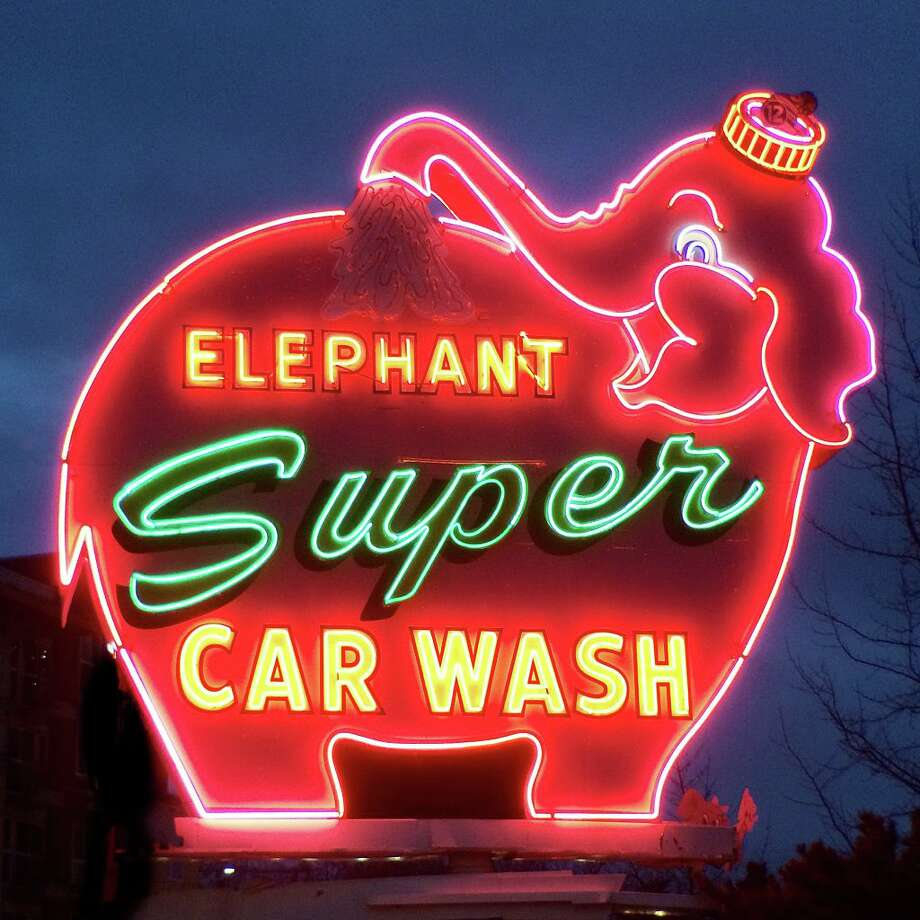 Iconic Elephant Car Wash sign may be headed towards demolition. Photo: Kevin Schafer/Getty Images / This image is subject to copyright.