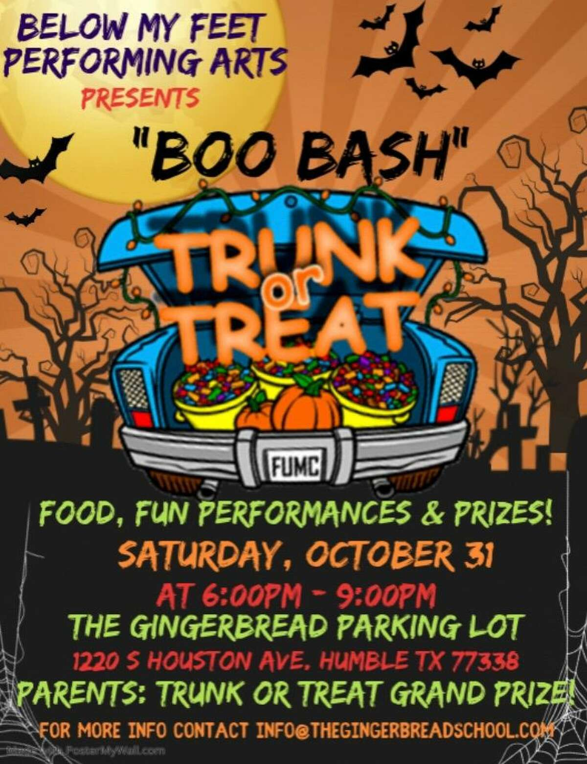 Boo Bash Trunk or Treat will be on Saturday, October 31st from 6 p.m. - 9 p.m. at the Gingerbread School parking lot, located at 1220 S Houston Ave.