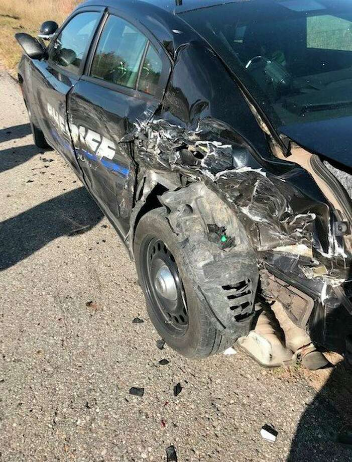 A Benzie County sheriff's deputy is recovering after the squad car he was running radar in was hit from behind. (Courtesy Photo)