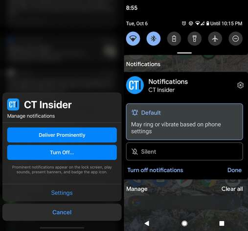 "On iOS, push notifications default to quiet delivery, which might cause you to miss them. To address this, press down on the notification until it pops out, click the ellipses at top right, then select ""Deliver Prominently."" (Left)