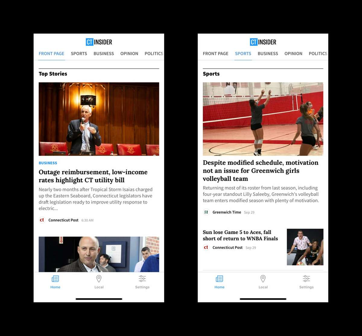 'Home' is where you will find the top stories from across CTInsider. If you swipe to the left you will find our 'Sports,' 'Business,' Opinion,' Politics,' 'Entertainment,' 'Comics' and 'Obituaries' pages.