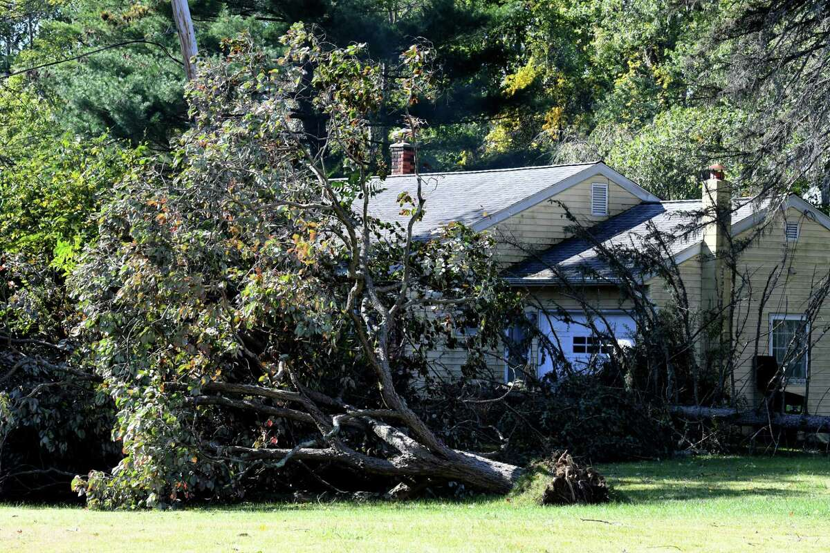 Elm Avenue between Route 32 and Feura Road is strewn with storm damage from fallen trees and branches on Thursday, Oct. 8, 2020, in Bethlehem, N.Y. Strong winds from a fast moving storm on Wednesday evening took down trees caused damage throughout the Capital Region. (Will Waldron/Times Union)