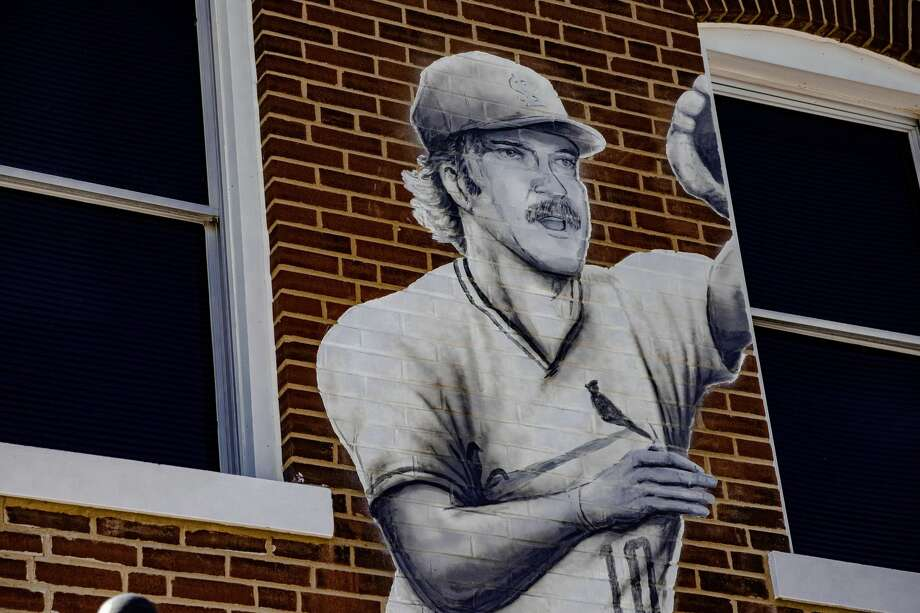 "Artist Troy Freeman is close to finishing a mural on the east side of the Maryville Heritage Museum that includes four Major League Baseball players who are originally from Maryville including Ken Oberkfell, Dwain Sloat, John ""Buster"" Lucas and Bob Boken. Photo: Tyler Pletsch/The Intelligencer"