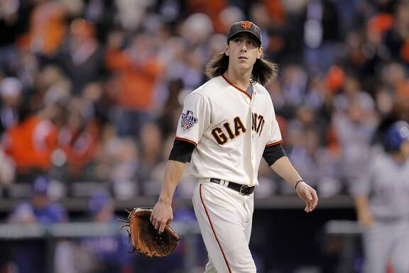 Giants Tim Lincecum closes out the fourth inning as the San Francisco Giants take on the Texas Rangers in Game 1 of the World Series at AT&T Park in San Francisco, Calif., on Wednesday, October 27, 2010.