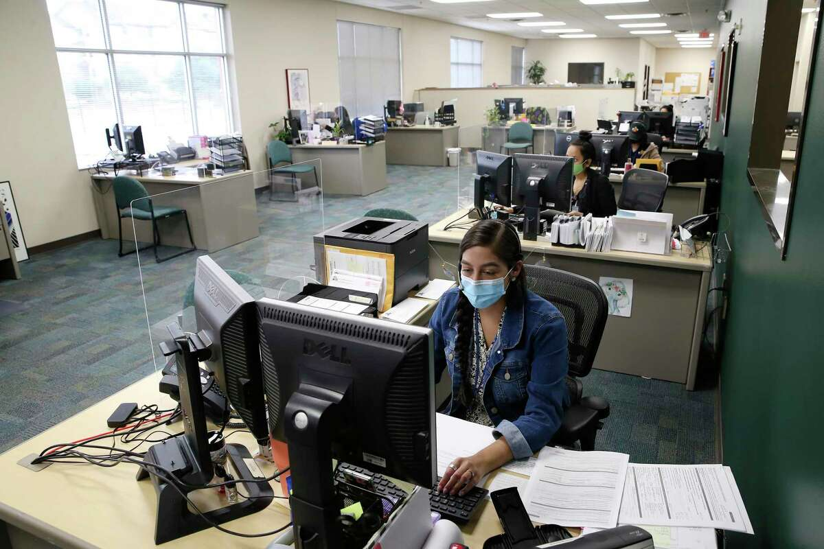 Harley Castillo, customer service specialist, works on a call at the Bexar County Appraisal District, Friday, Sept. 25, 2020. The Bexar County Appraisal District was voted the best mid-sized employer in the San Antonio Express-News survey.