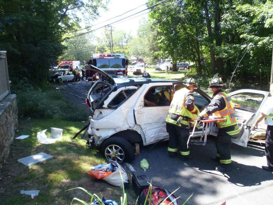"A serious two-car crash at Easton Road and North Avenue in Westport on Monday afternoon required firefighters to use the ""Jaws of Life"" tool to extricate one of the drivers from the wreckage. Photo: Contributed Photo / Westport News"