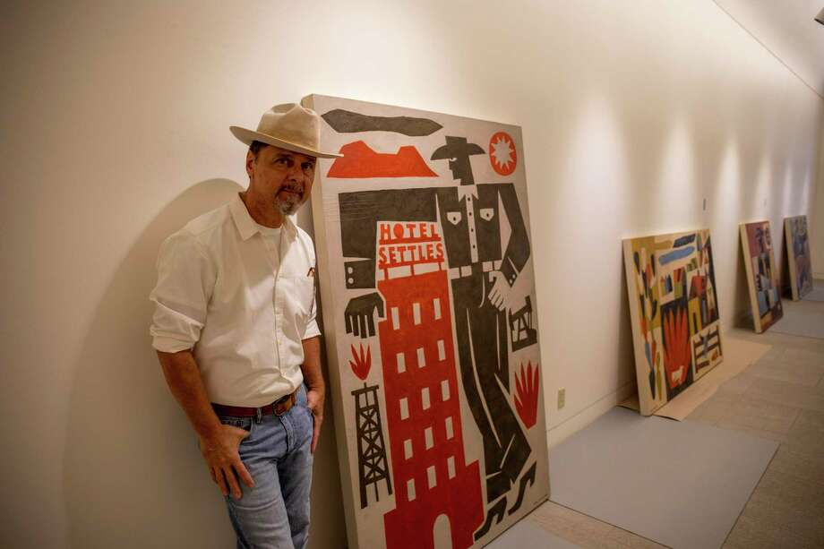Jon Flaming poses by his artwork Tuesday, Oct. 6, 2020 at Museum of the Southwest. The exhibit opens Monday.  Jacy Lewis/Reporter-Telegram Photo: Jacy Lewis/Reporter-Telegram