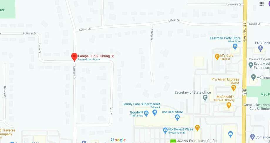 The intersection of Campau Drive and Luhring Street, located west of Eastman Avenue, will be closed for about a day. (Screen photo/Google Maps)