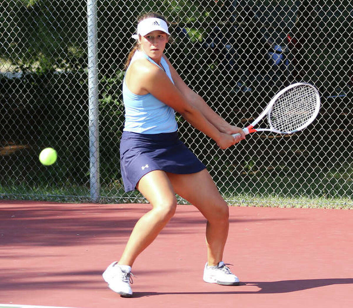 Jersey's Michelle Maag takes a 9-6 singles record and a 13-4 doubles record into the this weekend's Mississippi Valley Conference Tournament.