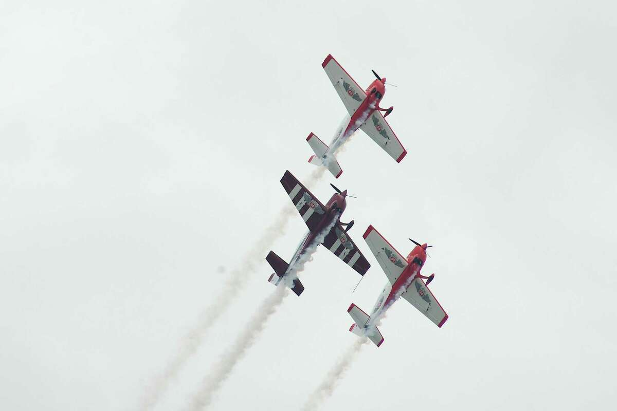 The Phillips 66 Aerostars acrobatic team flies at Ellington Airport during preshow practice before the 36th annual Commemorative Airforce Wings Over Houston Airshow's performances scheduled for Oct. 9 and 10.