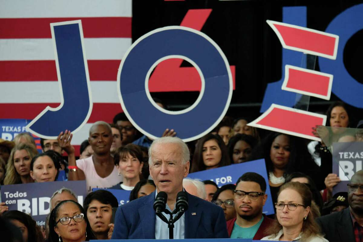 Democratic presidential candidate Joe Biden speaks at a Texas Southern University rally in Houston on March 2, 2020 during the primary campaign. Biden's campaign is ramping up efforts in Texas with a $6.2 million ad buy.