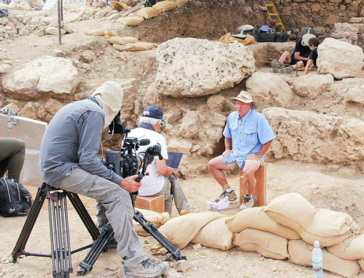 Dr. Scott Stripling is filmed at an archaeological dig site in Shiloh, Isrea.