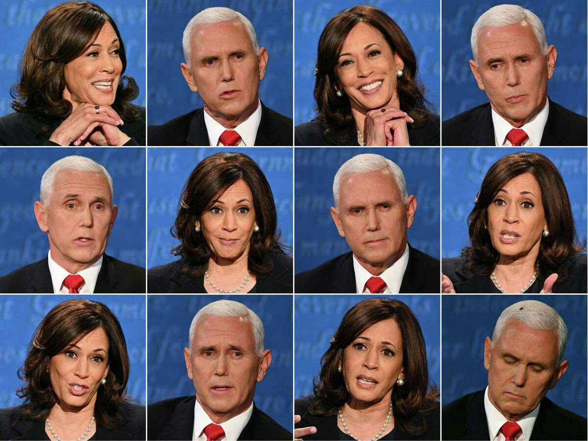 This combination of pictures shows Democratic vice presidential nominee and Senator from California Kamala Harris and Vice President Mike Pence during the vice presidential debate Oct. 7 in Salt Lake City, Utah.