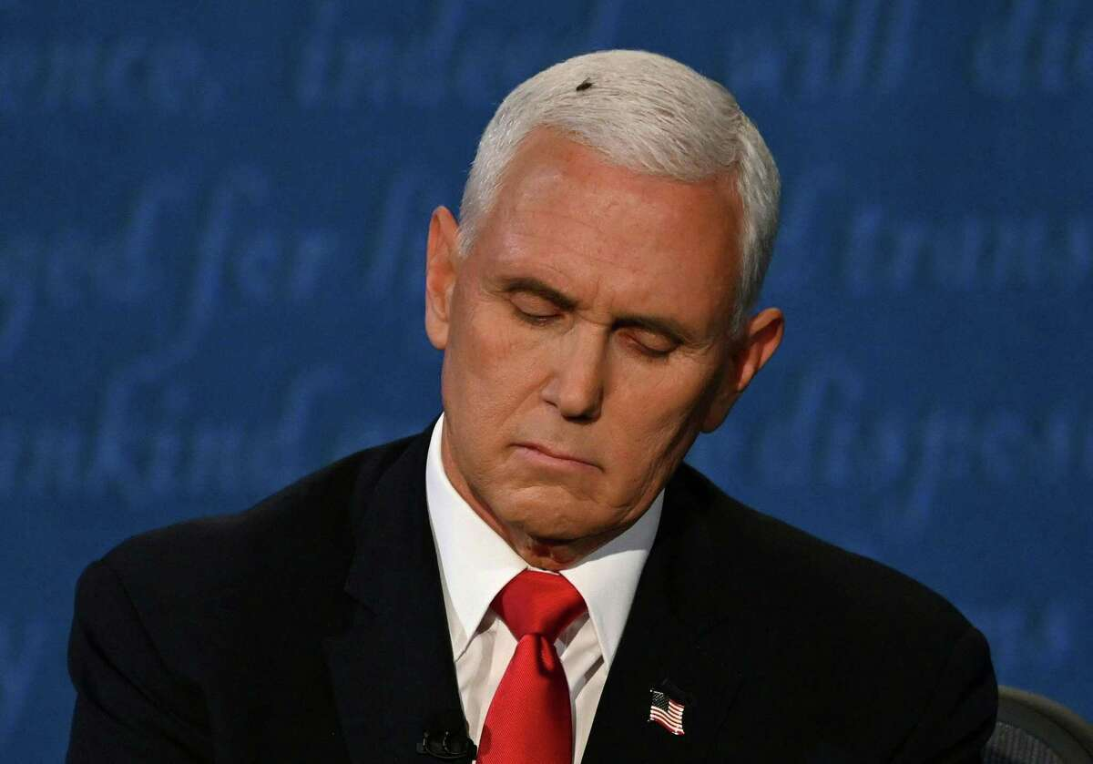A fly rests on the head of Vice President Mike Pence as he takes notes during the vice presidential debate against Democratic vice presidential nominee and Senator from California Kamala Harris at the University of Utah on Oct. 7 in Salt Lake City, Utah.