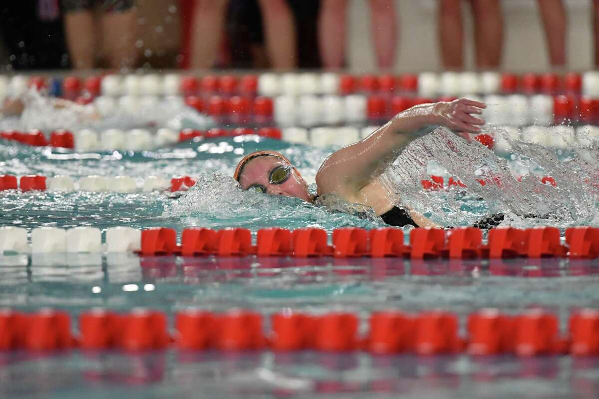 Rylie Giles of the Ridgefield Tigers swims in the 500yd freestyle during the FCIAC Girls Swimming Championship on Tuesday Nov 5 ,2019 at Greenwich High School in Greenwich, Connecticut.
