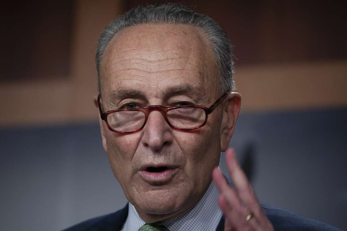 WASHINGTON, DC - OCTOBER 01: U.S. Senate Minority Leader Sen. Chuck Schumer (D-NY) speaks at a news conference on October 01, 2020 in Washington, DC. Schumer forced a Senate vote to block Attorney General Barr and the Justice Department from supporting President Trump's lawsuit to overturn the Affordable Care Act in the Supreme Court. (Photo by Tasos Katopodis/Getty Images)