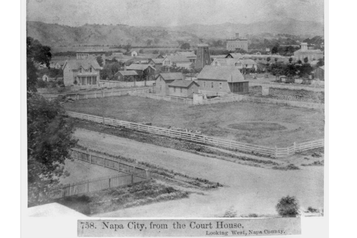 The view of Napa in 1866 looking west from the courthouse.