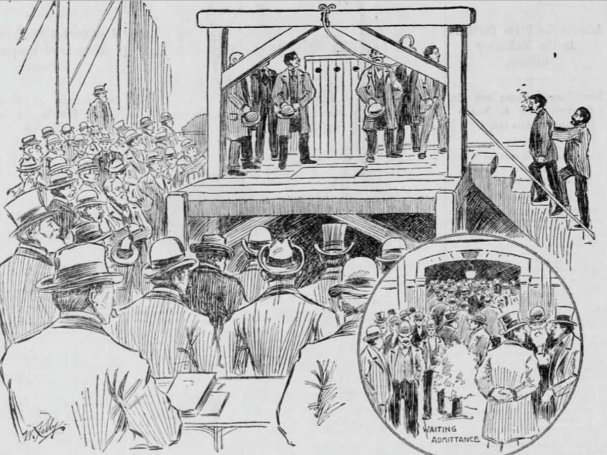 The illustration that ran in the San Francisco Call in January 1897 depicting the death of William Roe in Napa.