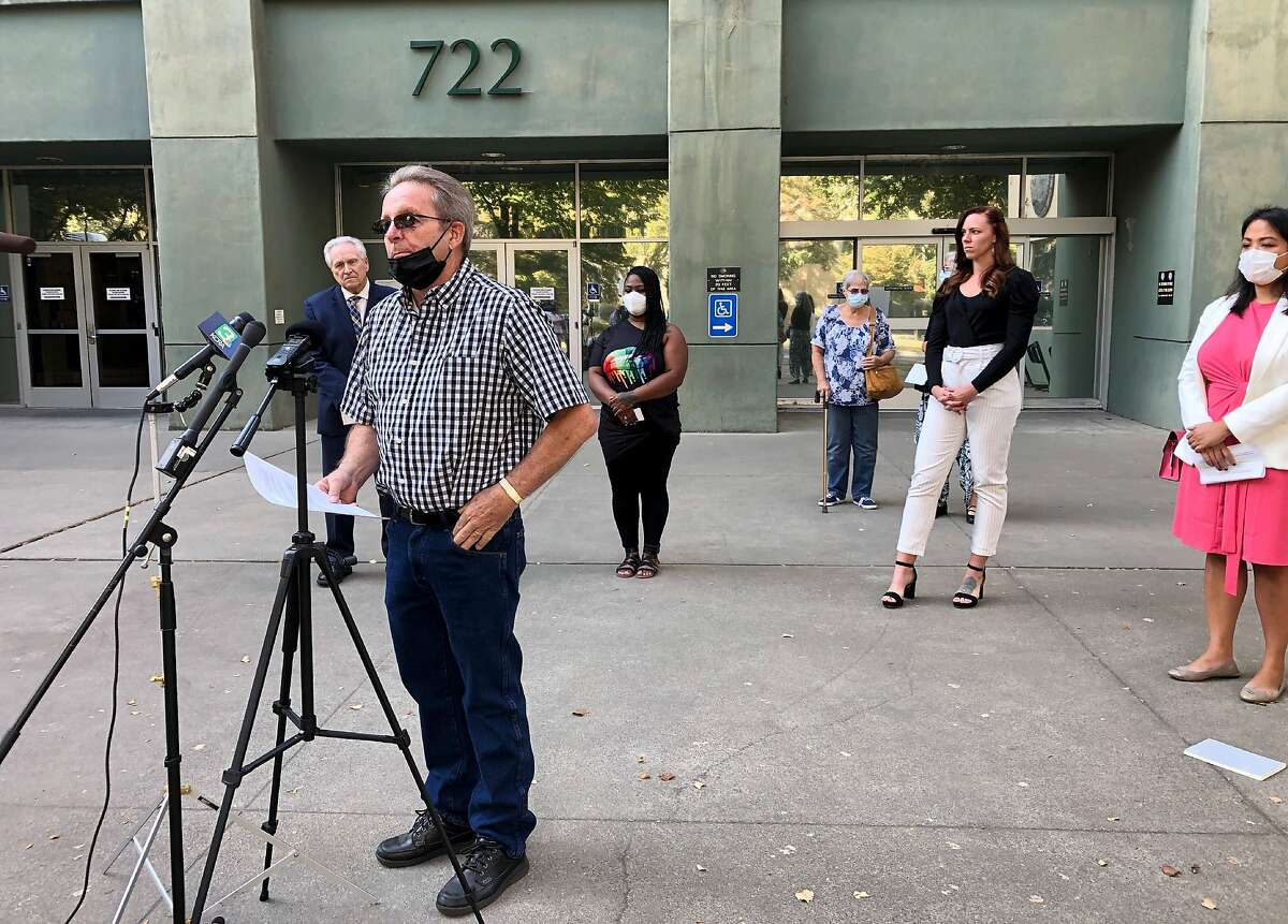 Californians frustrated by months-long delays of unemployment assistance spoke outside the Employment Development Department in Sacramento on Wednesday.