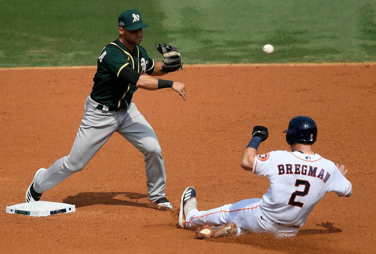 LOS ANGELES, CALIFORNIA - OCTOBER 08: Tommy La Stella #3 of the Oakland Athletics forces out Alex Bregman #2 of the Houston Astros at second base while throwing to first to complete the double play during the third inning in Game Four of the American League Division Series at Dodger Stadium on October 08, 2020 in Los Angeles, California. (Photo by Kevork Djansezian/Getty Images)