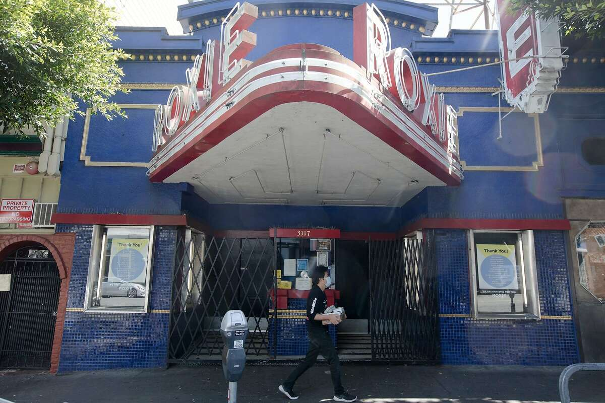 The exterior of the shuttered Roxie Theater on May 20, 2020.