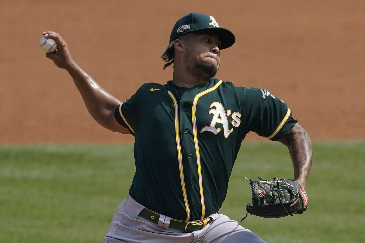 Neither Frankie Montas nor the other three Oakland starters could last five innings against the Astros at Dodger Stadium. Montas flirted with 100 mph on his fastball in Thursday's loss.