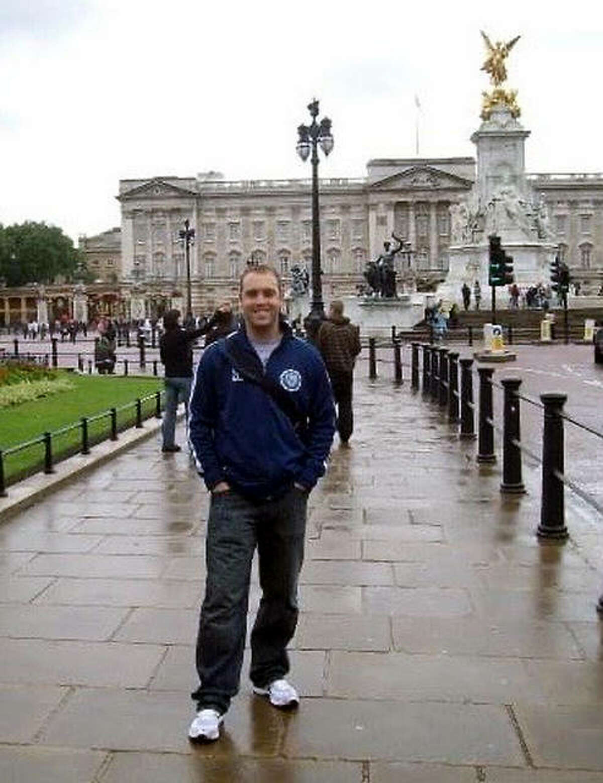 Jesse Daniels, the new EA-WR girls soccer coach, in front of Buckingham Palace in London during his stint as a teacher in England following graduation from SIUE.
