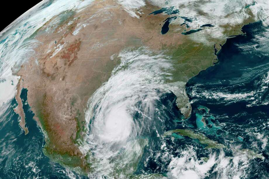 This Oct. 8, 2020 photo made available by the National Oceanic and Atmospheric Administration shows Hurricane Delta in the Gulf of Mexico at 12:41 p.m. EDT. Delta, gaining strength as it bears down on the U.S. Gulf Coast, is the latest and nastiest in a recent flurry of rapidly intensifying Atlantic hurricanes that scientists largely blame on global warming. (NOAA via AP) Photo: Associated Press / NOAA