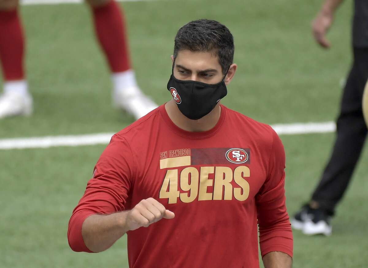San Francisco 49ers quarterback Jimmy Garoppolo (10) before an NFL football game against the New York Giants, Sunday , Sept. 27, 2020, in East Rutherford, N.J. (AP Photo/Bill Kostroun)