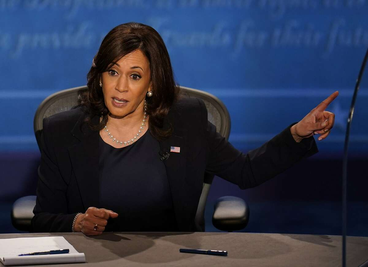 Democratic vice presidential candidate Sen. Kamala Harris, D-Calif., responds to Vice President Mike Pence during a debate Wednesday in Salt Lake City. Harris dodged Pence's attempt to pin her down on whether Democrats would try to add seats to the U.S. Supreme Court if they take power next year.