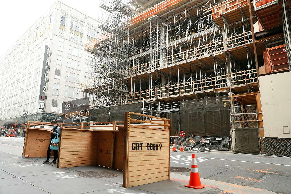 A parquet for Little Sweet across from 100 Stockton construction site on O'Farrell Street.