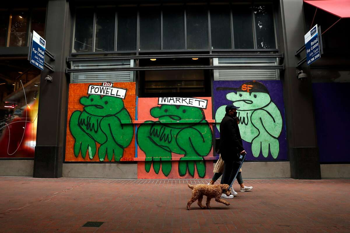 Retail space for lease on Powell Street in San Francisco.
