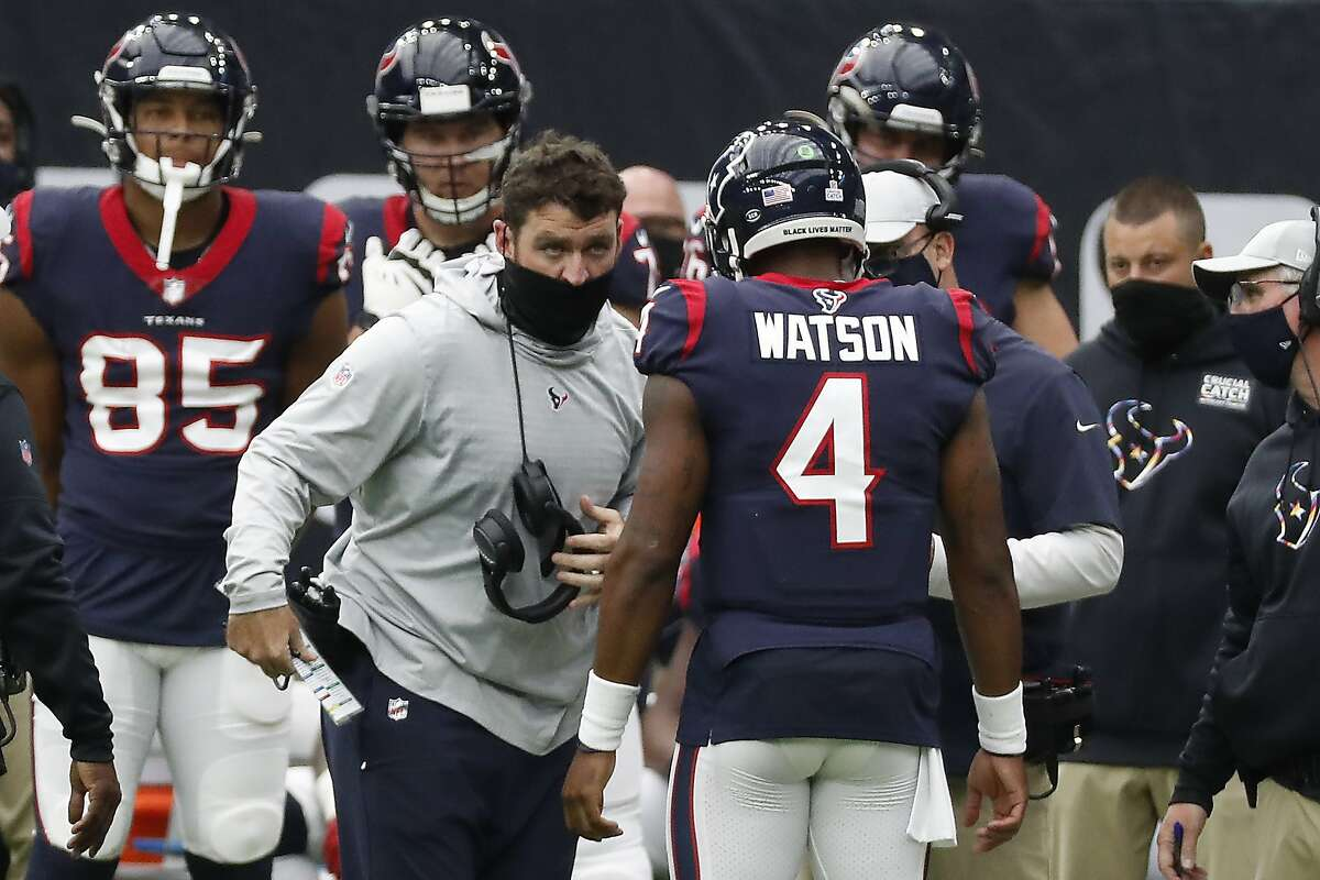 Texans offensive coordinator Tim Kelly hasn't been working with Deshaun Watson this offseason and declined to discuss the star quarterback's absence from the team.