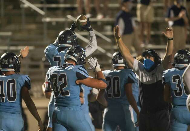 Kingwood's Michael Williams (7) celebrates a fumble recovery during a game between the Huntsville Hornets and the Kingwood Mustangs on Thursday, Oct. 8, 2020, at George Turner Stadium in Humble. Photo: Mark Mulligan, Staff Photographer / © 2020 Mark Mulligan / Houston Chronicle