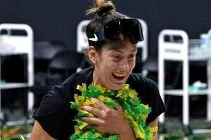 Seattle Storm forward Breanna Stewart celebrates after the team won basketball's WNBA Championship Tuesday, Oct. 6, 2020, in Bradenton, Fla. (AP Photo/Chris O'Meara)