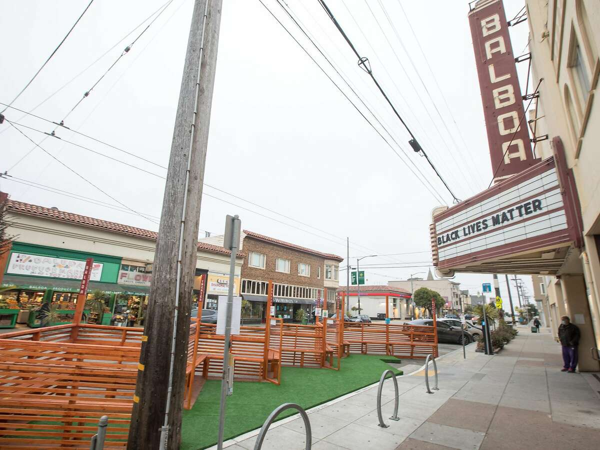 The Balboa constructed a parklet in front of their theater in San Francisco, shown Oct. 8, 2020. It is being used for outdoor movie showing on Fridays and Saturdays.