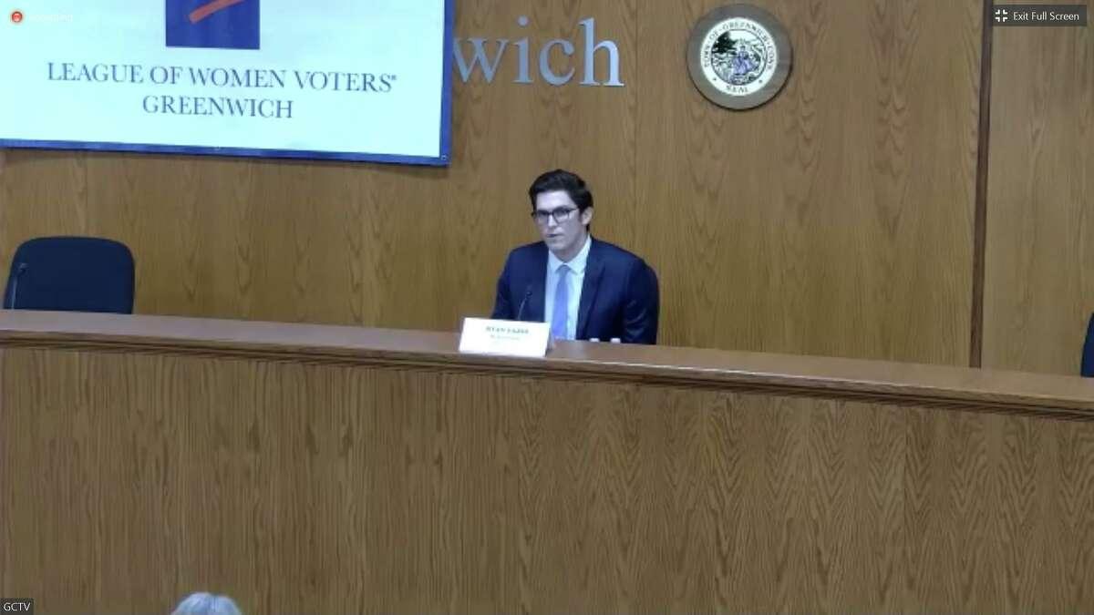 Challenger Ryan Fazio debates state Sen. Alex Kasser on Thursday night from Town Hall. It was broadcast via Zoom.