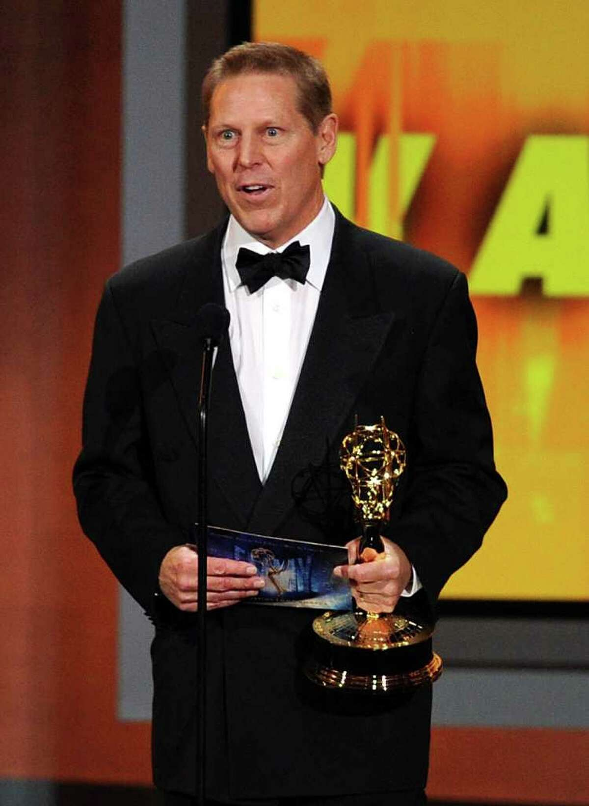 Wilton resident Bucky Gunts accepts the Outstanding Directing for a Variety, Music, or Comedy Special award onstage at the 62nd Annual Primetime Emmy Awards held at the Nokia Theatre L.A. Live on August 29, 2010 in Los Angeles, California.