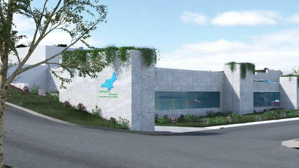A rendering of the main driveway entrance to the proposed Danbury Proton treatment center.