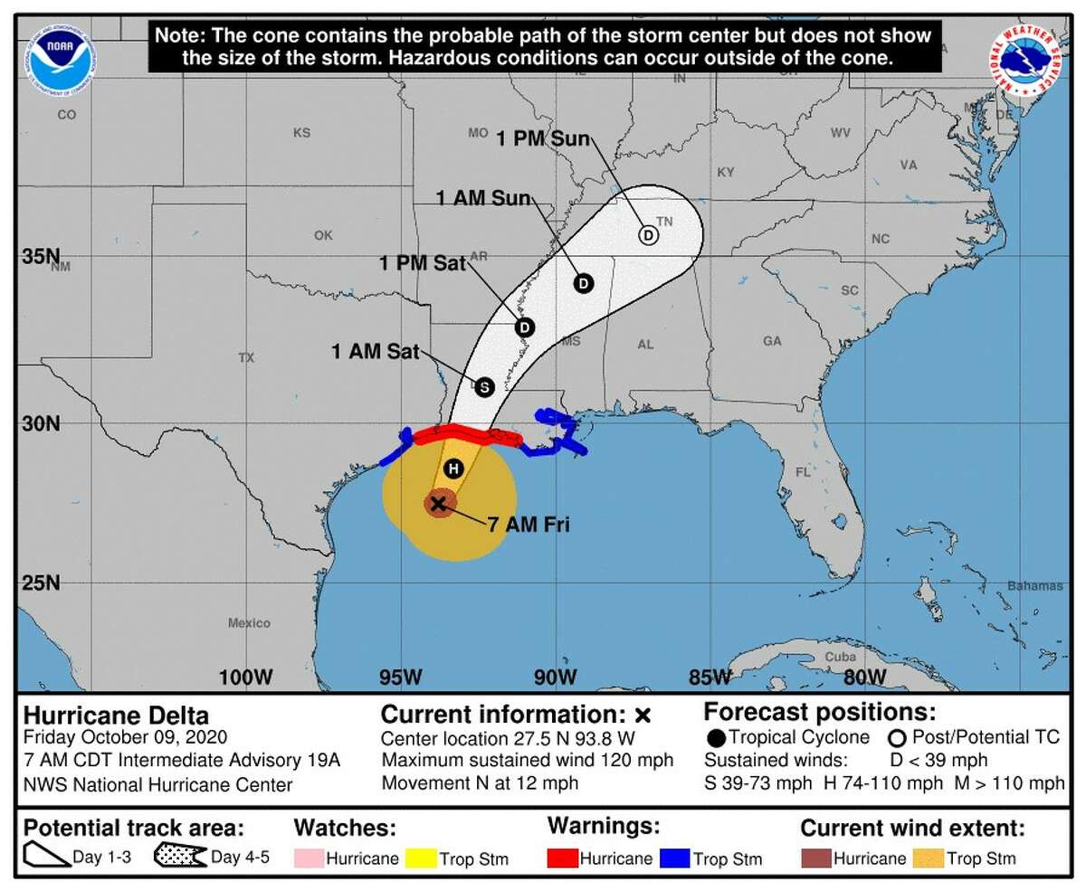 Latest cone for Hurricane Delta as of 7 a.m. Oct. 9.