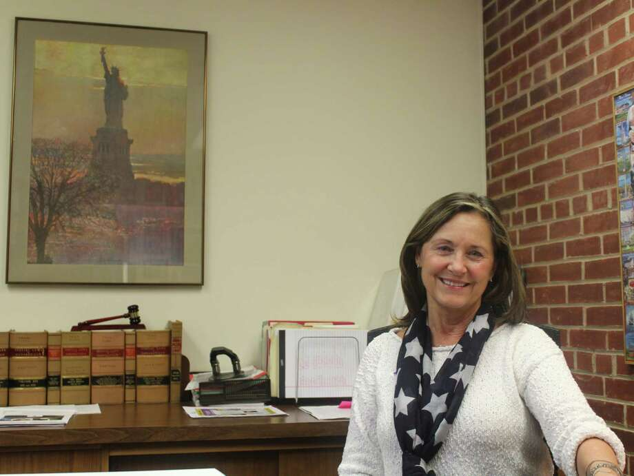 Westport Town Clerk Patricia Strauss sits in her office on election day in 2017. Photo: Sophie Vaughan /Hearst Connecticut Media /