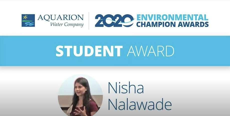 Darien High School senior Nisha Nalawade is an Aquarion Environmental Champion Photo: Aquarion / Contributed
