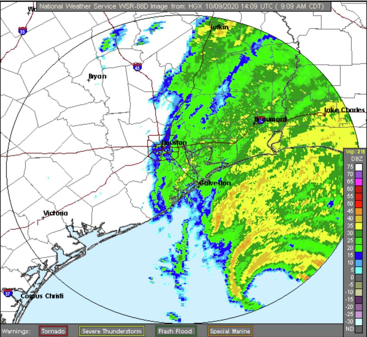 Rain will likely stay on the east side of Houston as Hurricane Delta makes landfall in Louisiana, although all of the area has a 60 percent chance of rain.