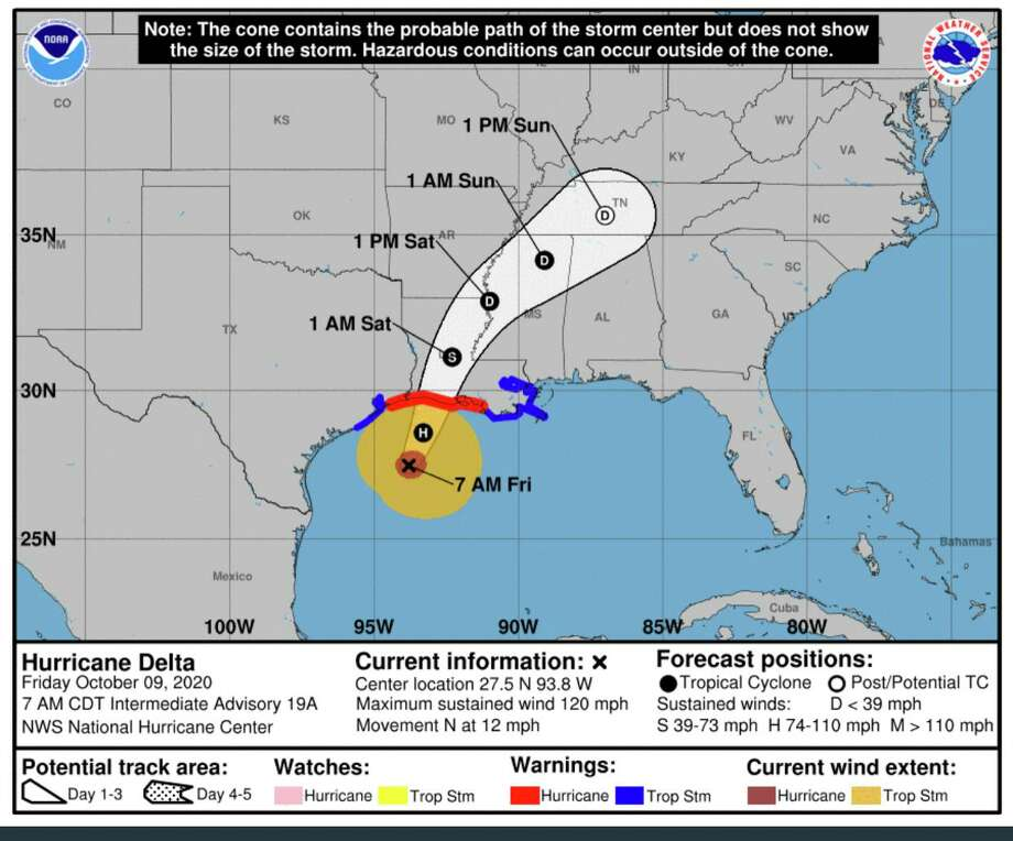 Hurricane Delta is moving toward the Southwestern Louisiana coastline as a category 2 storm by late Friday afternoon, Oct. 9, 2020. Photo: Courtesy Of National Hurricane Center / National Oceanic And Atmospheric Administration