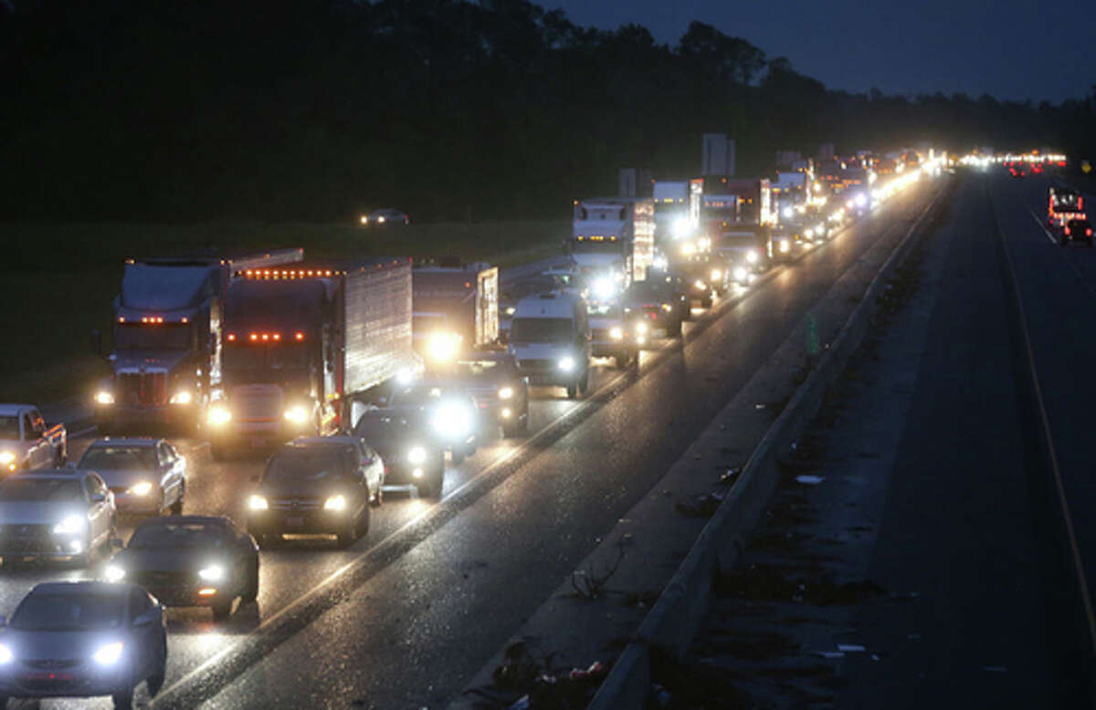 Traffic is jammed on I-10 westbound amid evacuations ahead of Hurricane Delta on October 8, 2020 in Lake Charles, Louisiana. (Photo by Mario Tama/Getty Images/TNS)
