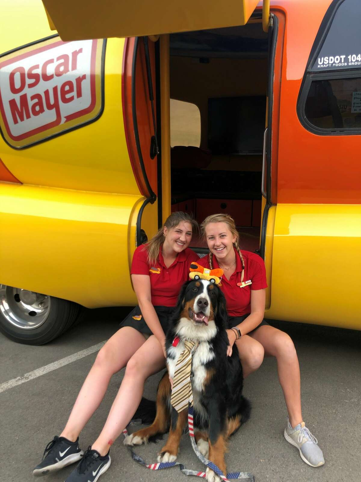 Hotdoggers Katie Ferguson and Rachel Aul have arrived with the 27-foot long hot dog on wheels to the Alamo City with one mission in mind: to put smiles on people's faces.