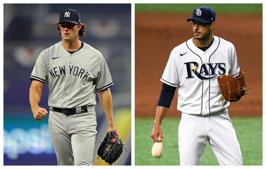 The Yankees' Gerrit Cole and the Rays' Charlie Morton, both big parts of previous Astros teams, are hoping to get a shot at their former team in the American League Championship Series. Photo: Getty Images